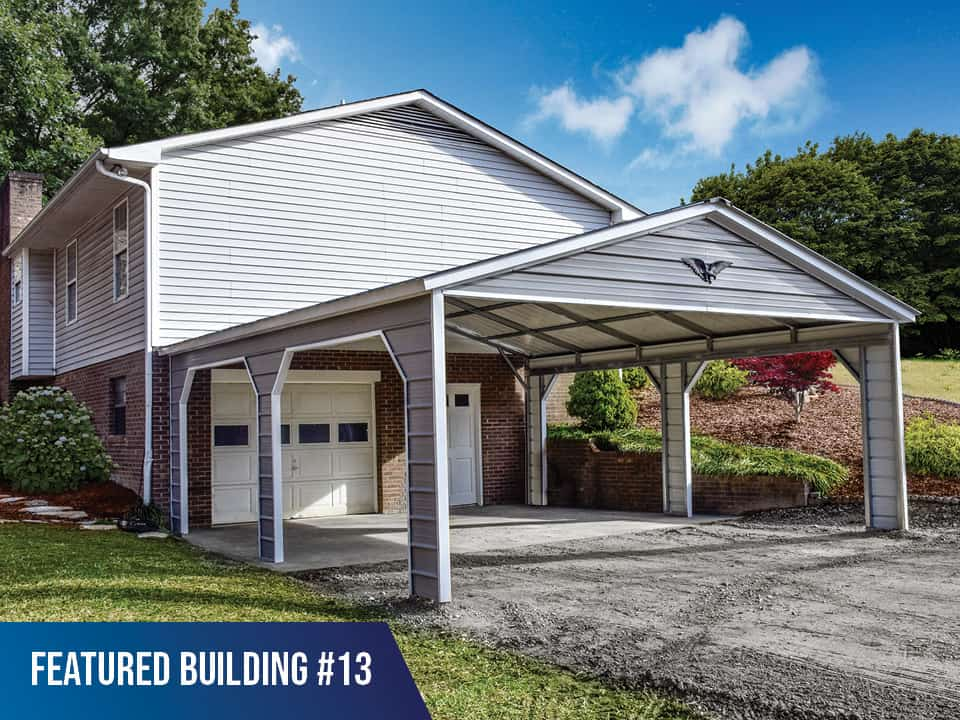 20x25x8 Vertical Roof 2 Car Metal Carport
