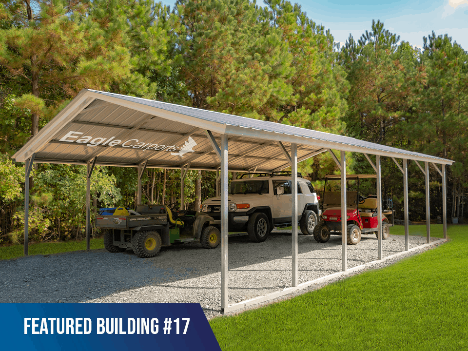 24x30x7 Vertical Roof 3 Car Metal Carport