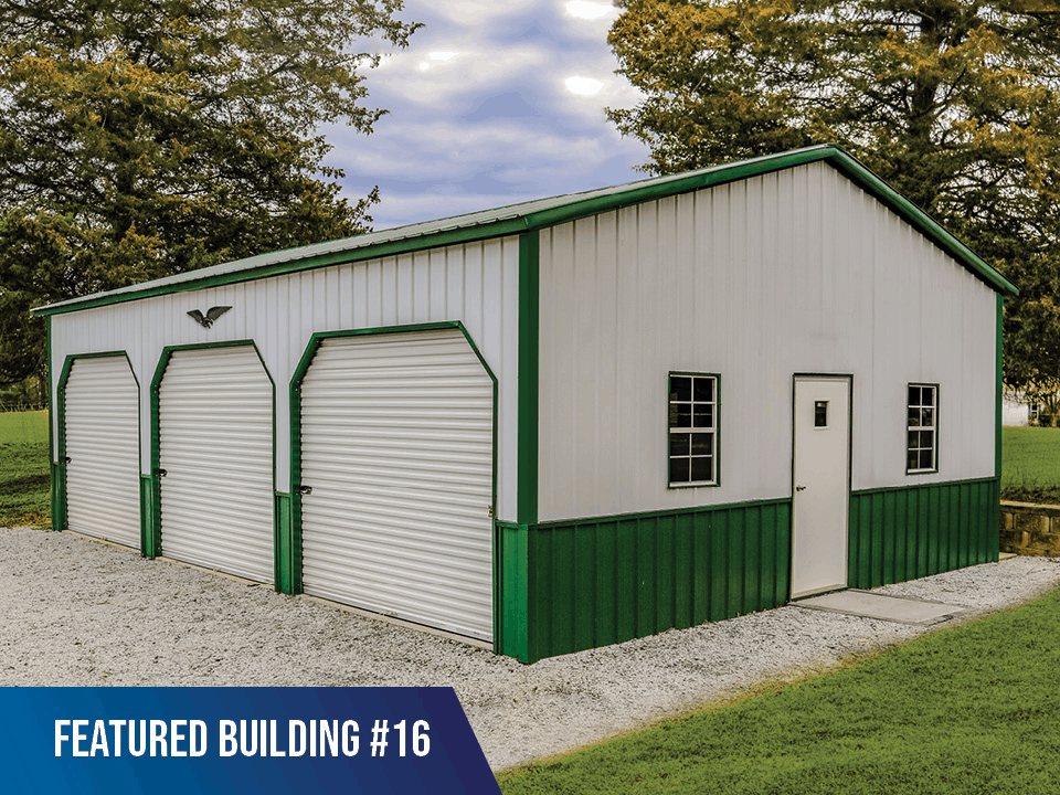 24x35x10 Vertical Roof Metal Garage
