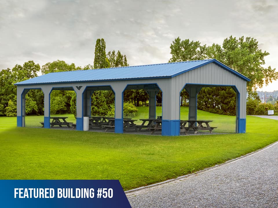 20x50x9 Vertical Roof Picnic Shelter