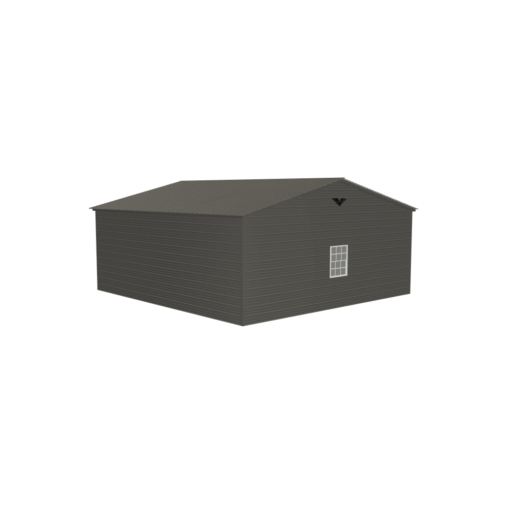 24x25x9 Vertical Roof Double Metal Garage