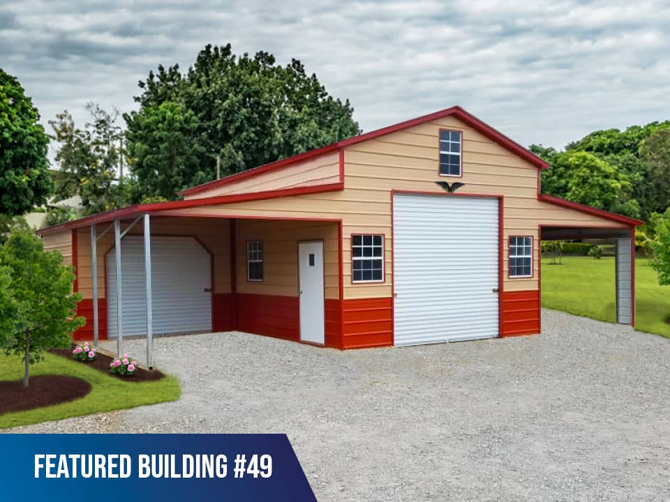 44x25x12/8 Vertical Roof Horse Barn Garage